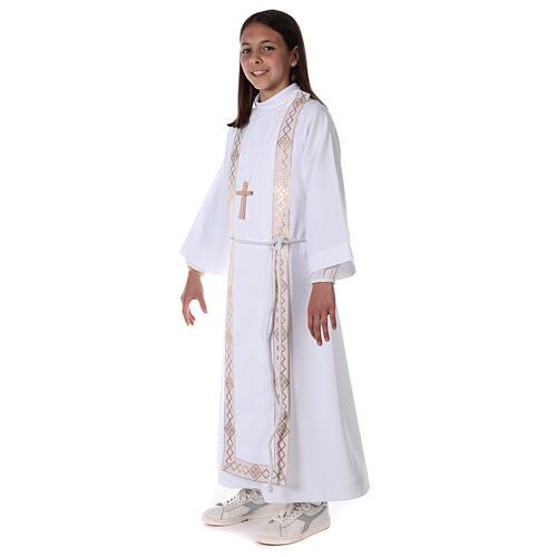 Aube communion fille scapulaire bord or 6