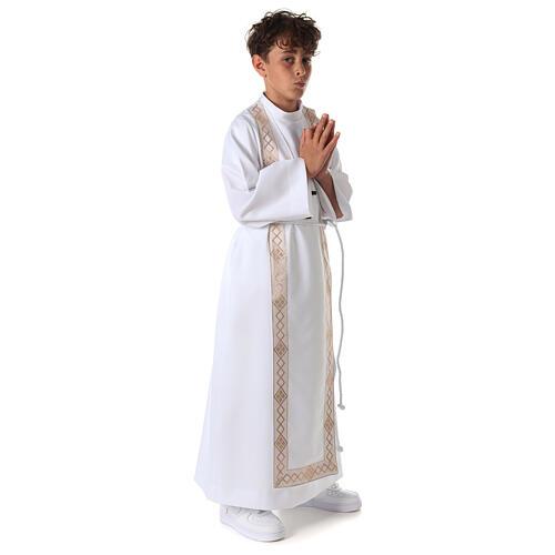 Aube communion fille scapulaire bord or 7
