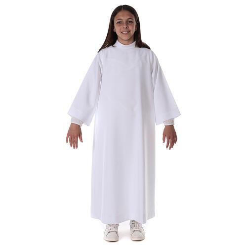 Aube communion fille scapulaire bord or 10