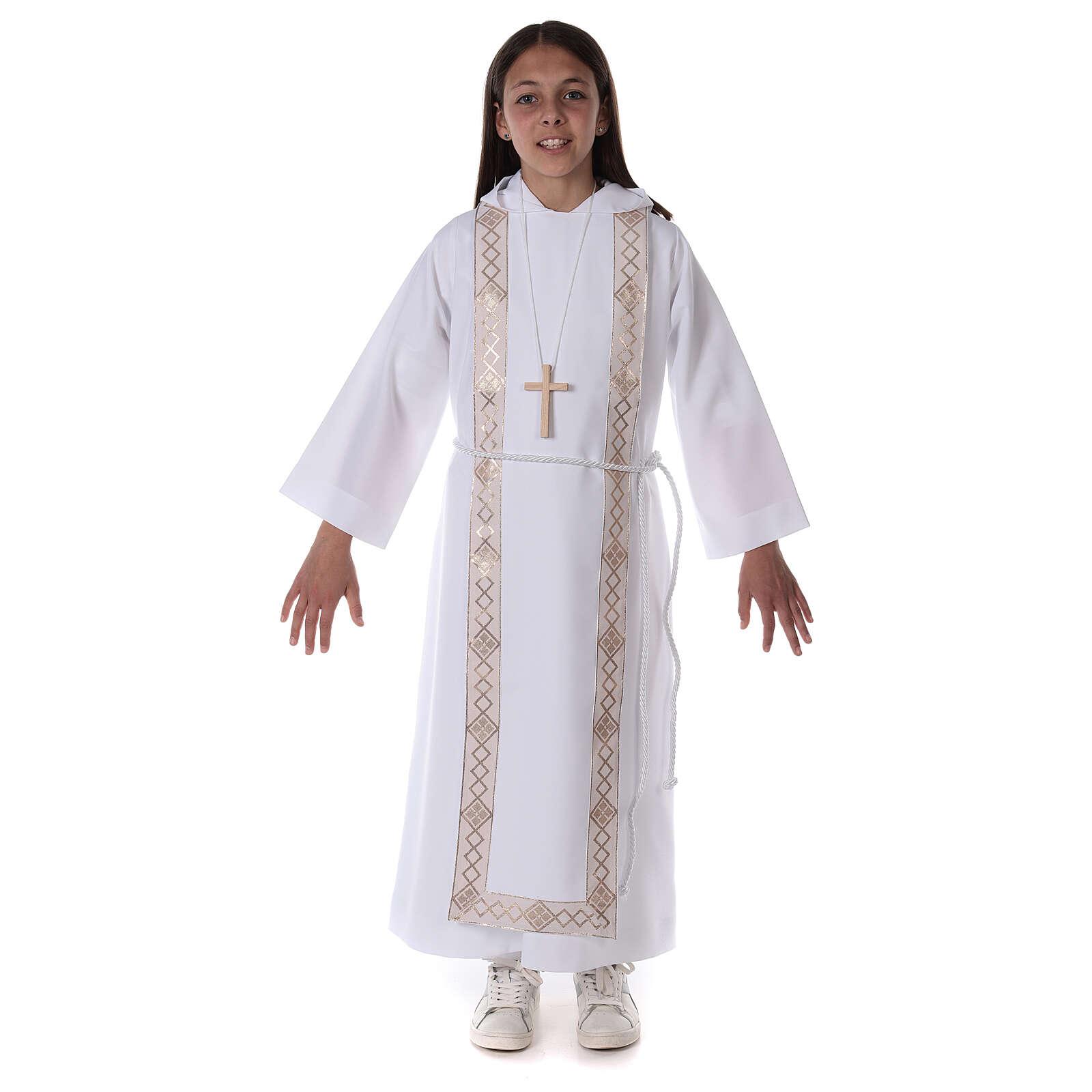 Aube communion scapulaire bord or 4