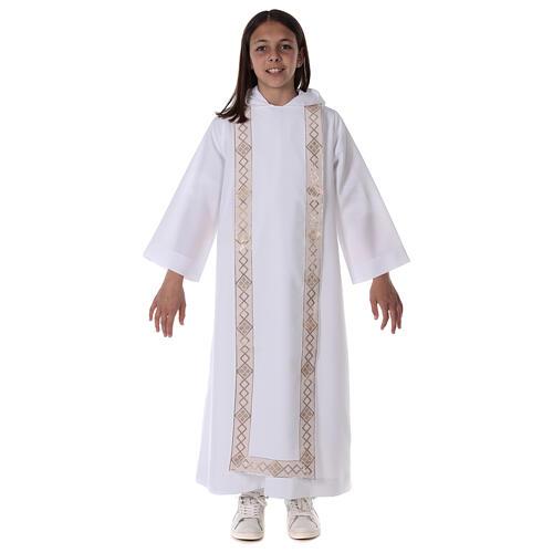 Aube communion scapulaire bord or 1