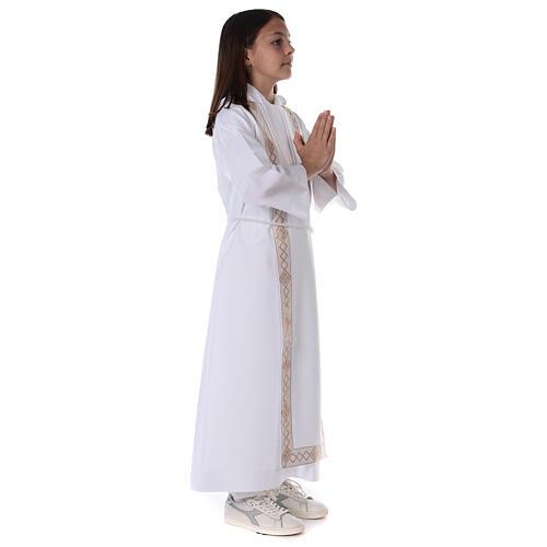 Aube communion scapulaire bord or 9