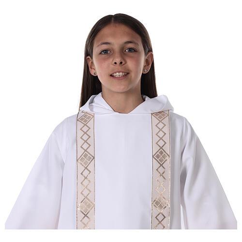 Aube communion scapulaire bord or 11