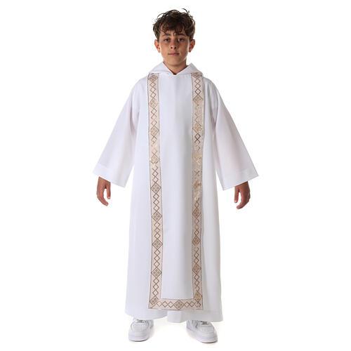 Aube communion scapulaire bord or 12