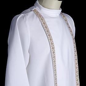 First communion alb for girl scapular thin golden edges s4