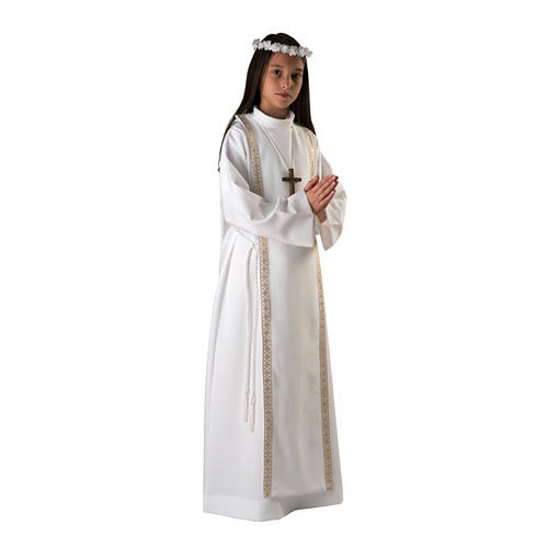 First communion alb for girl scapular thin golden edges 1