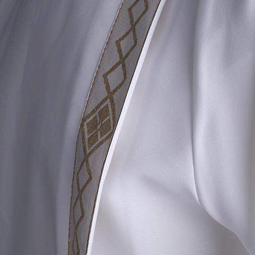 Túnica primera comunión 2 pliegues borde dorado 8