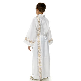 Holy Communion Alb with 2 pleats and golden edge s11