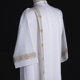 Holy Communion Alb with 2 pleats and golden edge s6