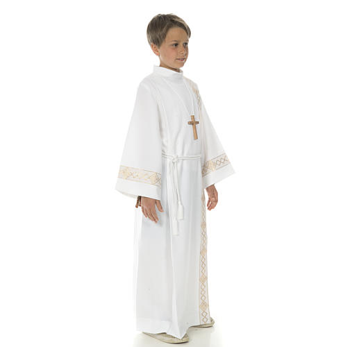 Holy Communion Alb with 2 pleats and golden edge 12