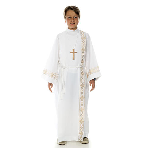 Holy Communion Alb with 2 pleats and golden edge 1