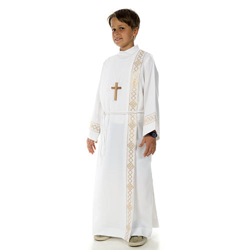 Holy Communion Alb with 2 pleats and golden edge 2