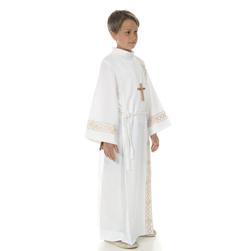Holy Communion Alb with 2 pleats and golden edge 3
