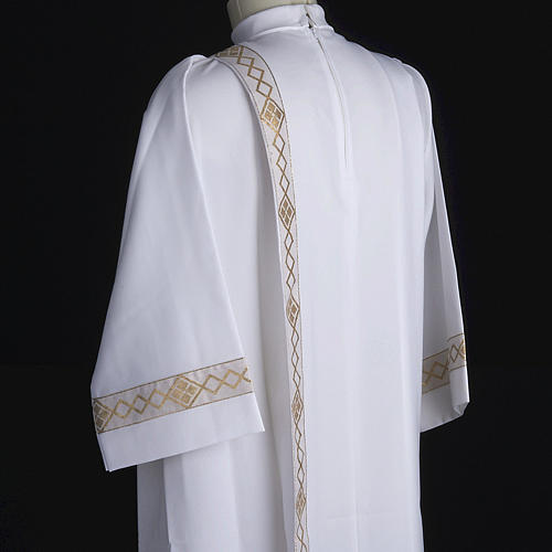 Holy Communion Alb with 2 pleats and golden edge 6