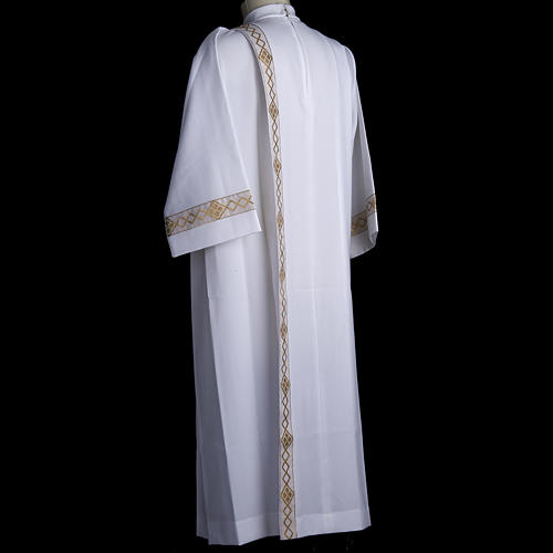 Holy Communion Alb with 2 pleats and golden edge 7