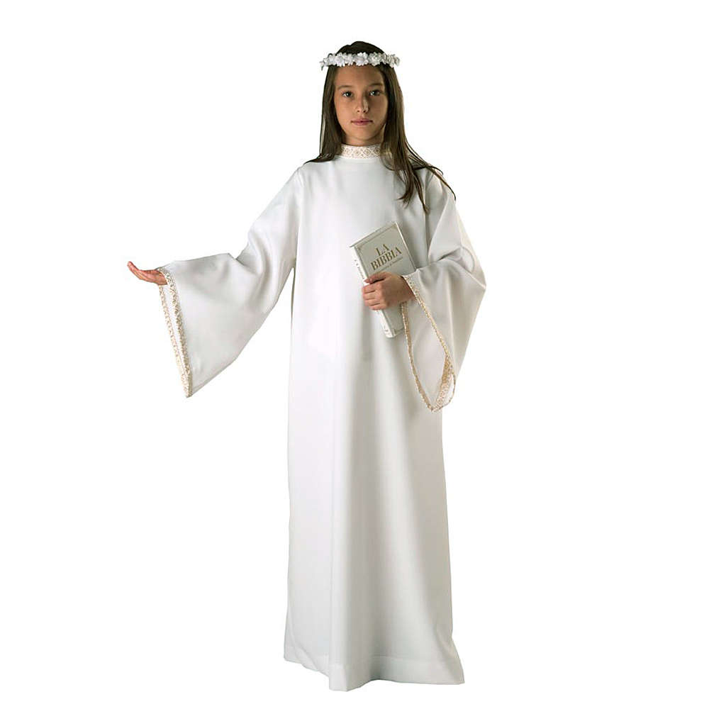 First communion alb for girl golden sleeves edge 4