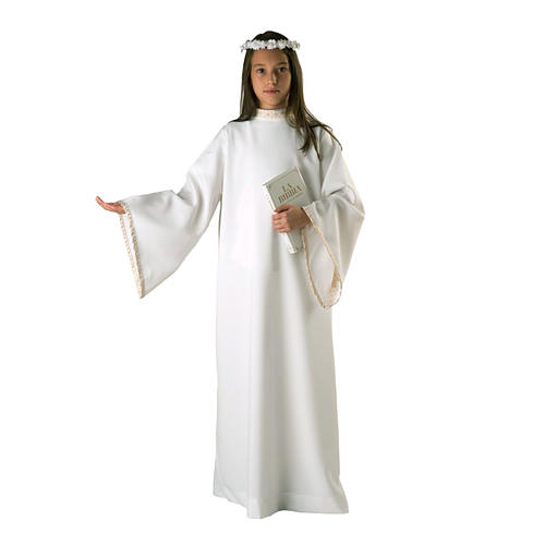 First communion alb for girl golden sleeves edge 1