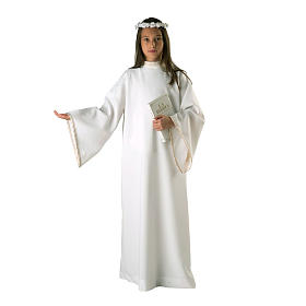 First Holy Communion alb for girl golden sleeves edge s1