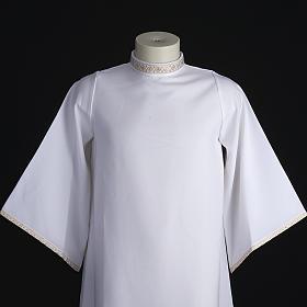 First Holy Communion alb for girl golden sleeves edge s2
