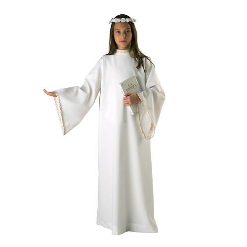 First Holy Communion alb for girl golden sleeves edge 1