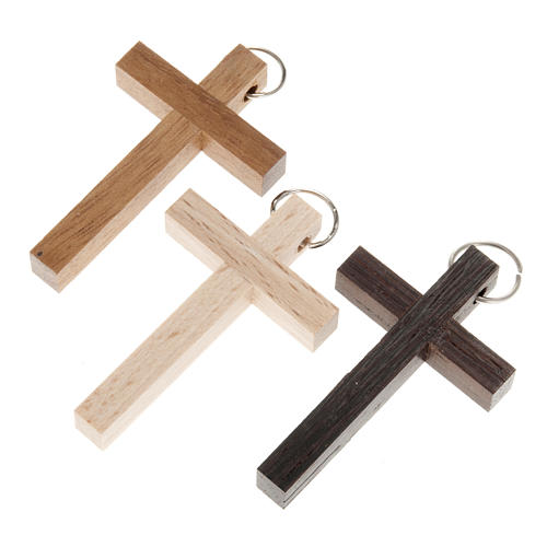 First communion cross in walnut, wengè and beechwood with ring 1