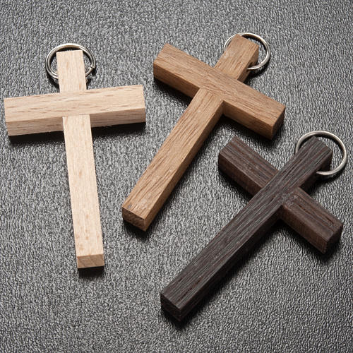 First communion cross in walnut, wengè and beechwood with ring 2