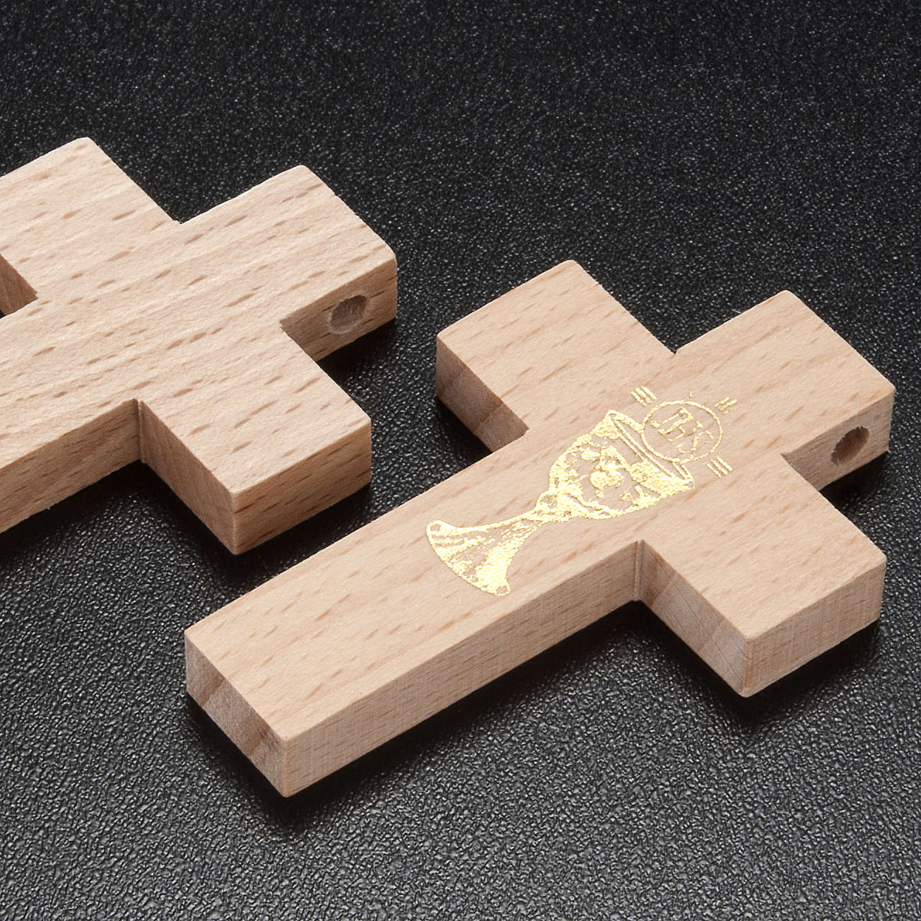 First communion cross in wood with chalice 4
