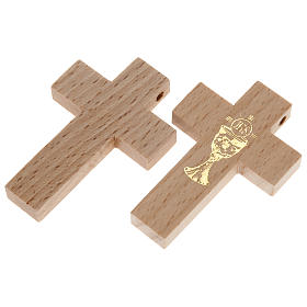 First communion cross in wood with chalice s1