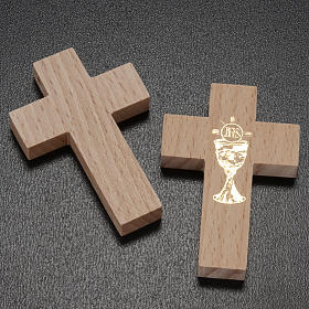 First communion cross in wood with chalice s2