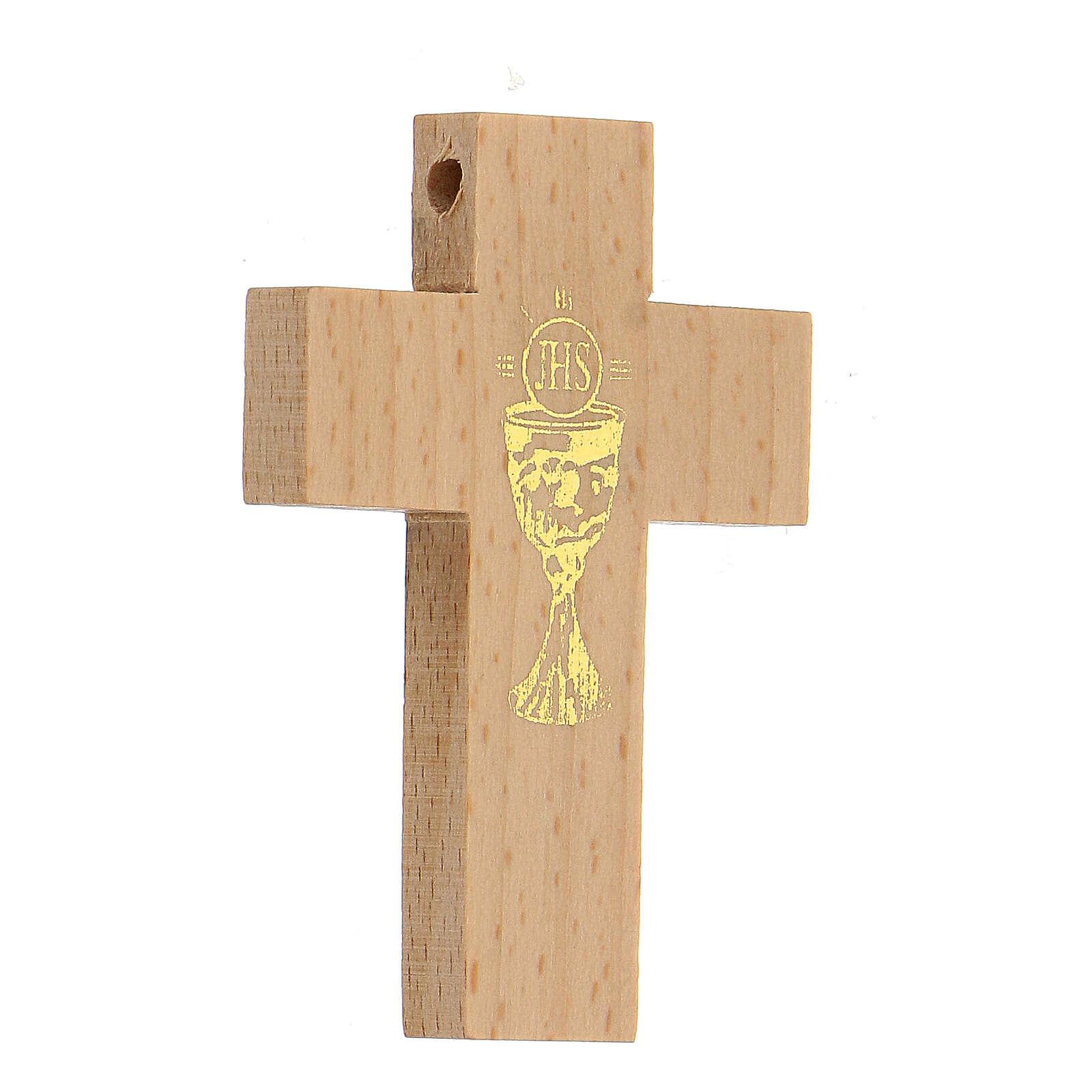 Croix première communion en bois calice 4