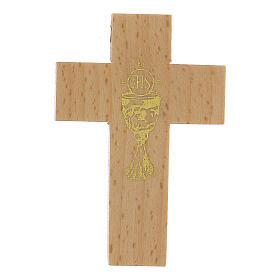 Croix première communion en bois calice s1
