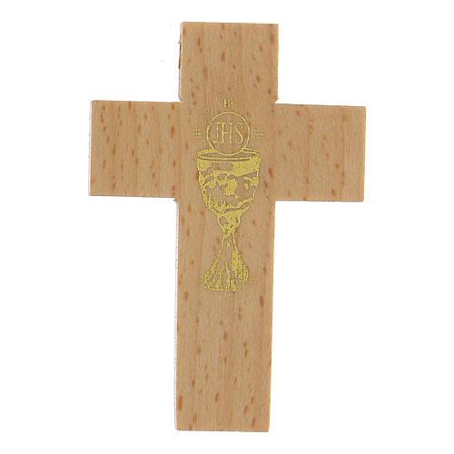 Croix première communion en bois calice 1