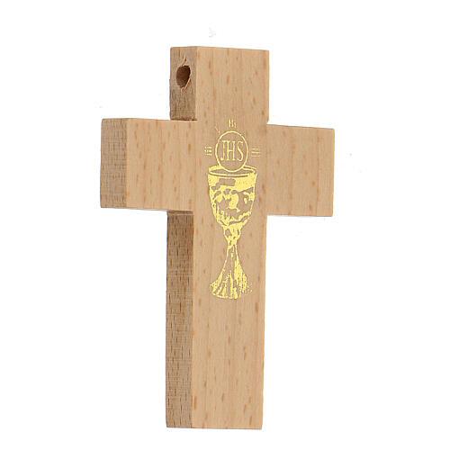 Croix première communion en bois calice 3