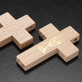 First communion cross in wood with chalice s3