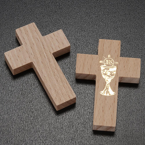First communion cross in wood with chalice 2