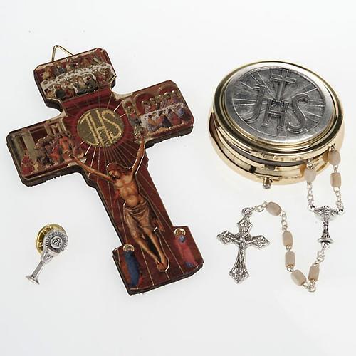 Paket Erste Kommunion Kruzifix Rosenkranz Scachtel Brosche