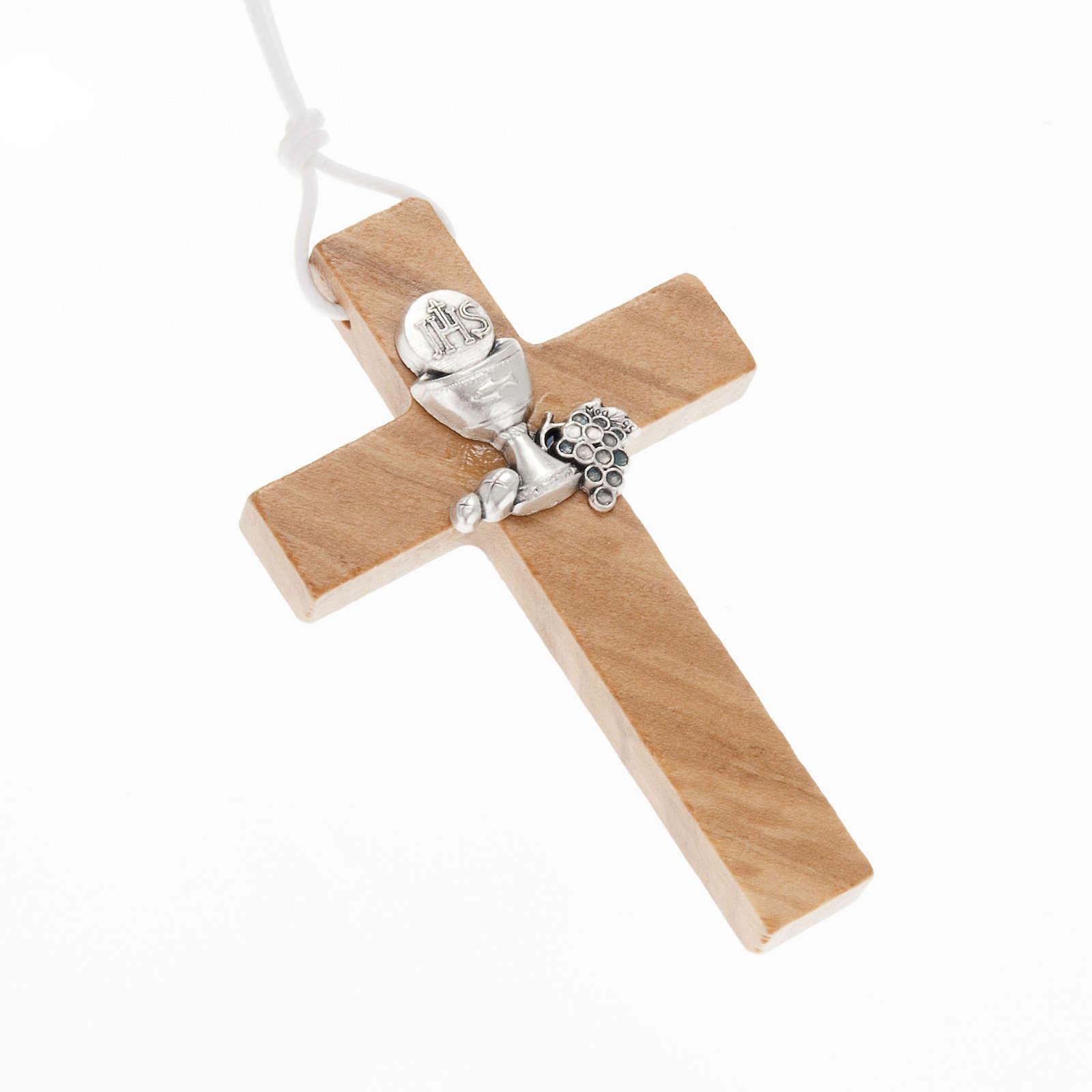 Croce per Prima comunione in legno ulivo 4