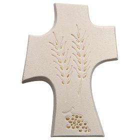 Cruz Primera Comunión Arcilla blanca y dorado 15cm s1