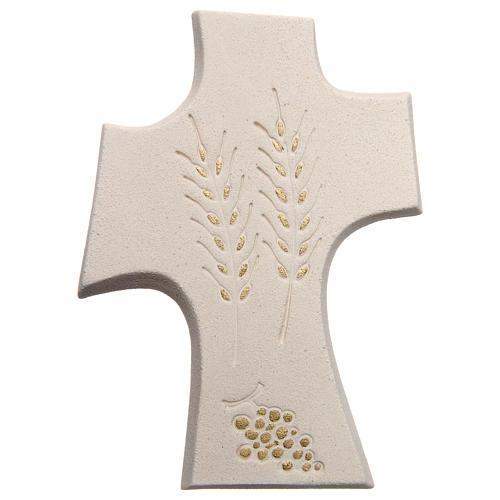Croix première communion argile blanche et or 15 cm 1