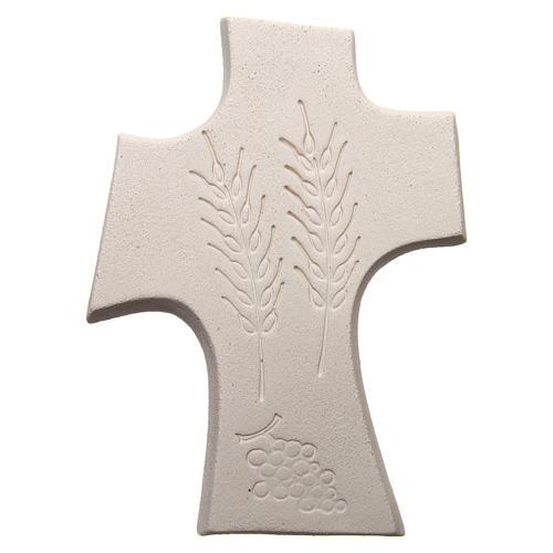 Croix première communion argile blanche et or 15 cm 3