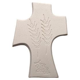 Croce Prima Comunione argilla bianca e oro 15 cm s3