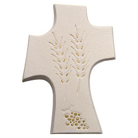 Bas-relief  First Communion crucifix, white or gold 15 cm s1