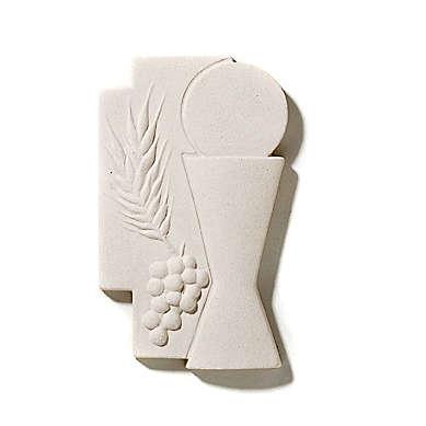 Croce Prima Comunione eucarestia argilla 15 cm 3