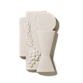 Croce Prima Comunione eucarestia argilla 15 cm s2