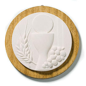 Round picture for Communion, white with wood s1