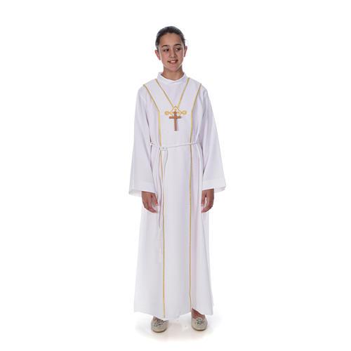 Aube communion scapulaire brodé 1
