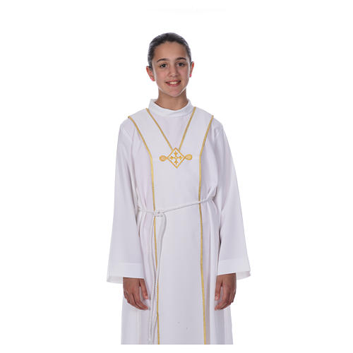 Aube communion scapulaire brodé 5