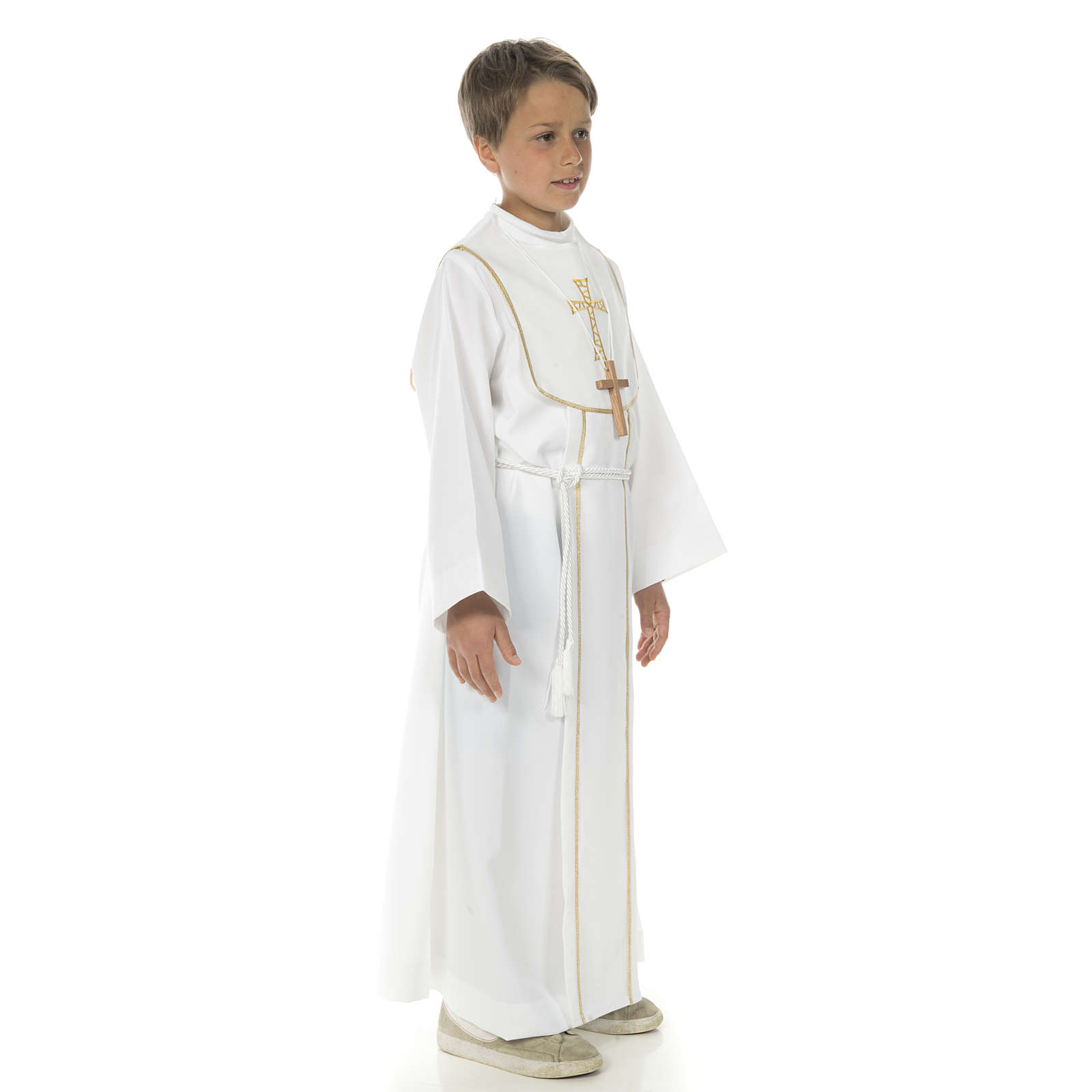 First Communion alb for boy with honeycomb embroidery 4