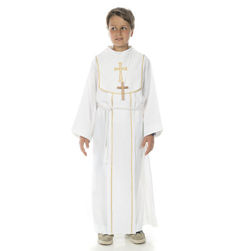 First Communion alb for boy with honeycomb embroidery 1
