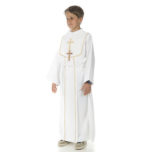 First Communion alb for boy with honeycomb embroidery 2